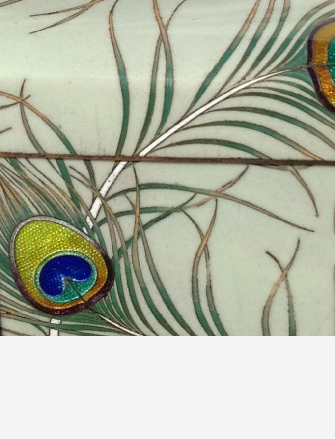 Peacock feather cloisonne box