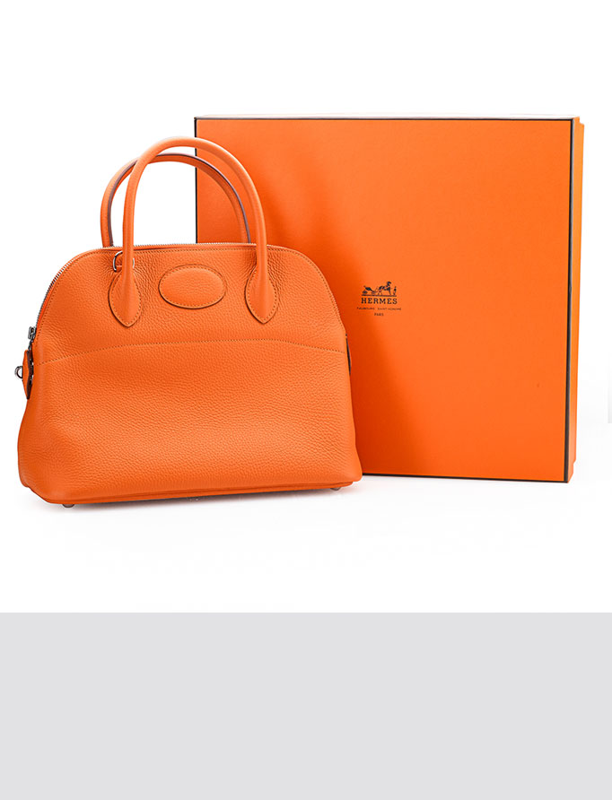 Orange Taurillon Clemence leather bag